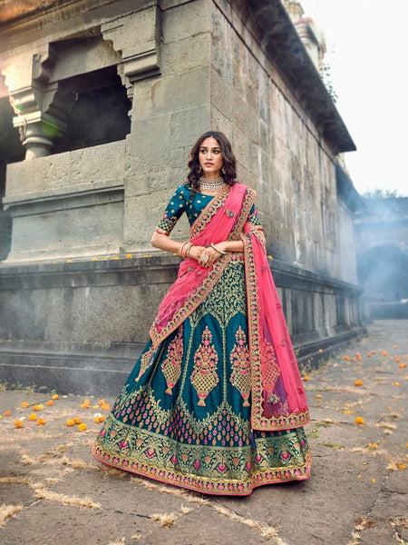 Eye Catching ROY90664 Designer Teal Blue Pink Silk Lehenga Choli - Fashion Nation