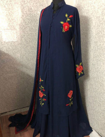 938A Bollywood Inspired Blue Georgette Silk Anarkali Gown - Fashion Nation