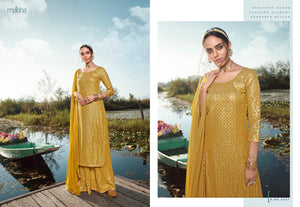 Haldi Special Ceremonial Wear Georgette Designer Sharara Suit for Online Sales by Fashion Nation