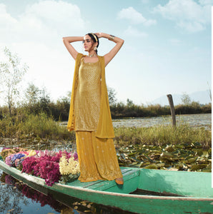 Yellow Sharara Suit Indo Western