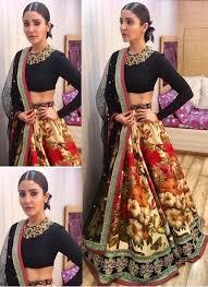 Designer Wear Anushka Sharma SN550 Bollywood Inspired Black Red Cream Multicoloured Silk Lehenga Choli by Fashion Nation