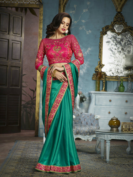 Traditional ADA505 Designer Pink Green Silk Satin Saree by Fashion Nation