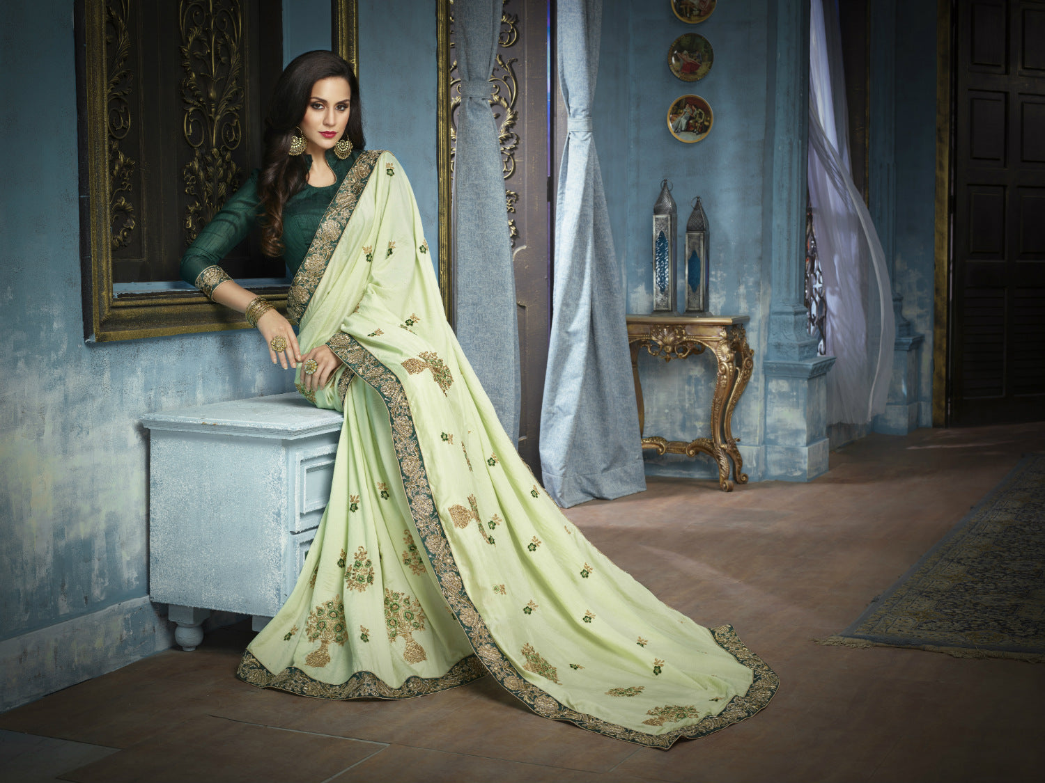 Graceful ADA513 Designer Pistachio Green Charmeuse Silk Saree by Fashion Nation