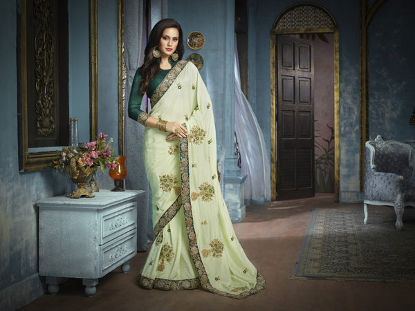 Graceful ADA513 Designer Pistachio Green Charmeuse Silk Addaien Saree