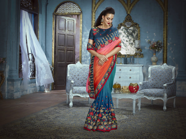 Embroidered ADA514 Designer Shaded Blue Orange Silk Satin Addaien Saree