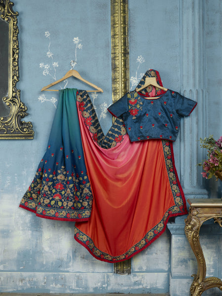 Embroidered ADA514 Designer Shaded Blue Orange Silk Satin Saree - Fashion Nation