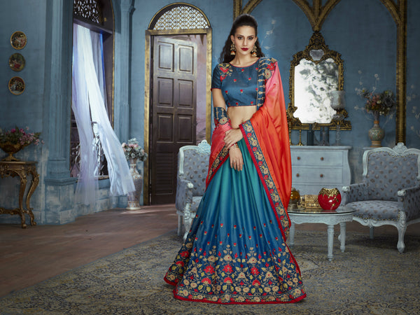 Embroidered ADA514 Designer Shaded Blue Orange Silk Satin Saree by Fashion Nation