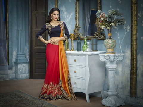 Regal ADA516 Designer Yellow Shaded Red Blue Georgette Silk Saree by Fashion Nation