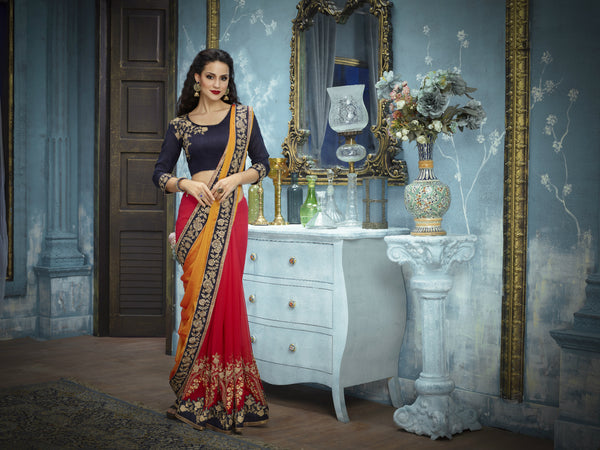 Regal ADA516 Designer Yellow Shaded Red Blue Georgette Silk Addaien Saree