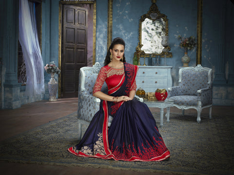 Elegant ADA517 Designer Navy Blue Red Satin Silk Saree by Fashion Nation