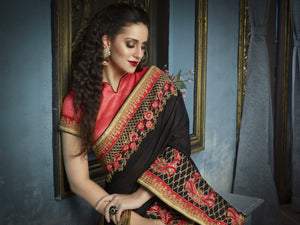 Special Partywear ADA519 Designer Black Peach Silk Saree by Fashion Nation