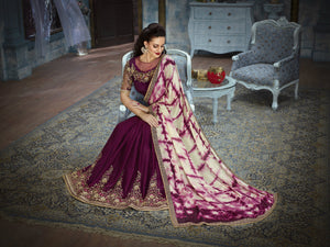 Latest ADA520 Designer Shaded Tie & Dye Magenta Satin Saree by Fashion Nation