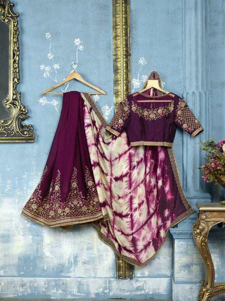Latest ADA520 Designer Shaded Tie & Dye Magenta Satin Addaien Saree