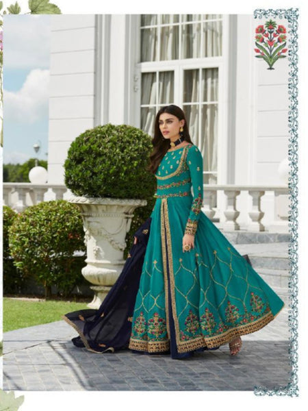 Good Quality ASH7032 Indo Western Blue Georgette Silk Floor Length Anarkali Gown - Fashion Nation
