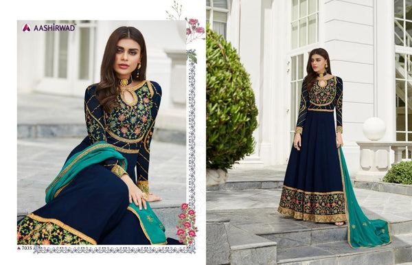 Splendid ASH7035 Indo Western Blue Georgette Silk Floor Length Anarkali Gown - Fashion Nation