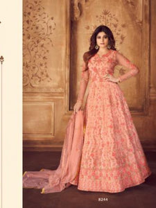 Beautiful ASH8244 Indo Western Pink Net Silk Floor Length Anarkali Gown - Fashion Nation
