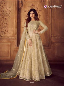 Dainty ASH8245 Indo Western Off-White Net Silk Floor Length Anarkali Gown - Fashion Nation