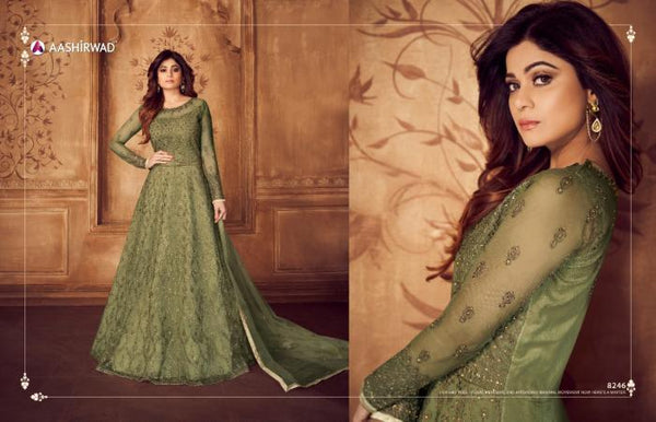 Smart ASH8246 Indo Western Green Net Silk Floor Length Anarkali Gown - Fashion Nation