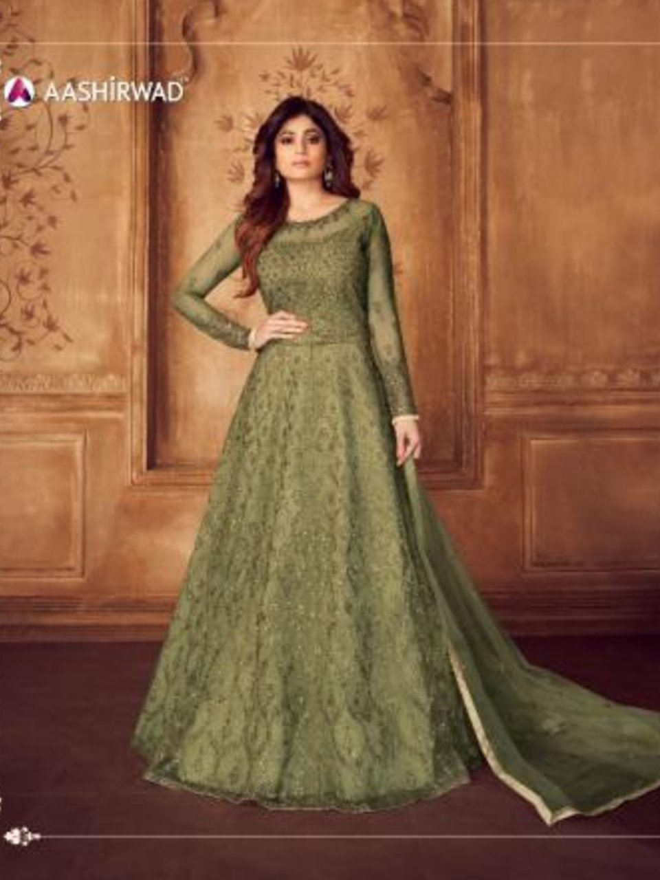 Smart ASH8246 Indo Western Green Net Silk Floor Length Anarkali Gown - Fashion Nation.in