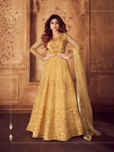 Shamita Shetty ASH8247 Indo Western Yellow Net Silk Floor Length Anarkali Gown - Fashion Nation