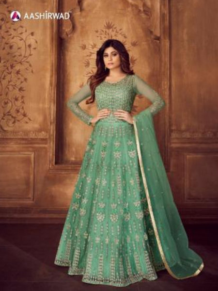 Shamita Shetty ASH8248 Indo Western Aqua Net Silk Floor Length Anarkali Gown - Fashion Nation