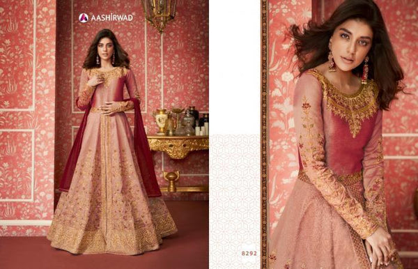 Nice ASH8292 Indo Western Shaded Pink Silk Floor Length Anarkali Gown - Fashion Nation