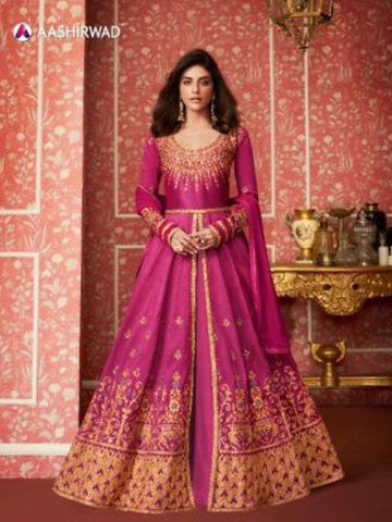 Brilliant ASH8294 Indo Western Rani Silk Floor Length Anarkali Gown - Fashion Nation