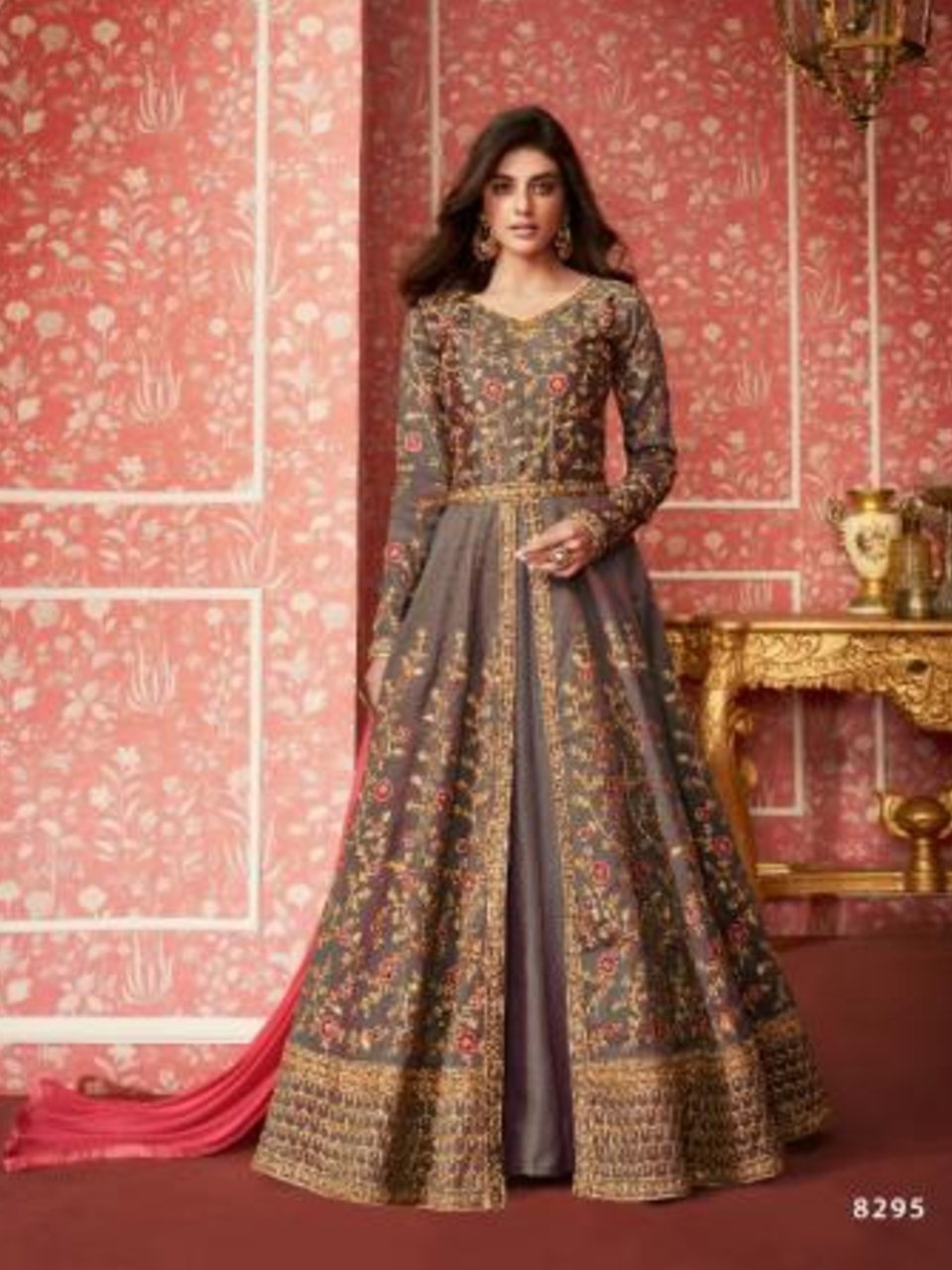 Charming ASH8295 Indo Western Grey Silk Floor Length Anarkali Gown - Fashion Nation