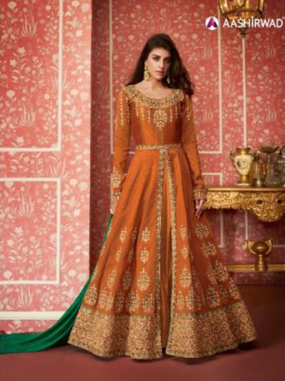 Festive ASH8296 Indo Western Orange Silk Floor Length Anarkali Gown - Fashion Nation