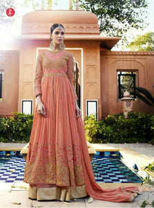 Stylish Indo Western LF11004 Peach Georgette Silk Chiffon Net Anarkali Lehenga by Fashion Nation