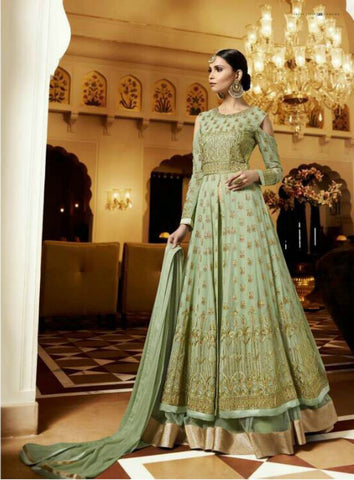 Fabulous Indo Western LF11005 Green Georgette Silk Chiffon Net Anarkali Lehenga by Fashion Nation