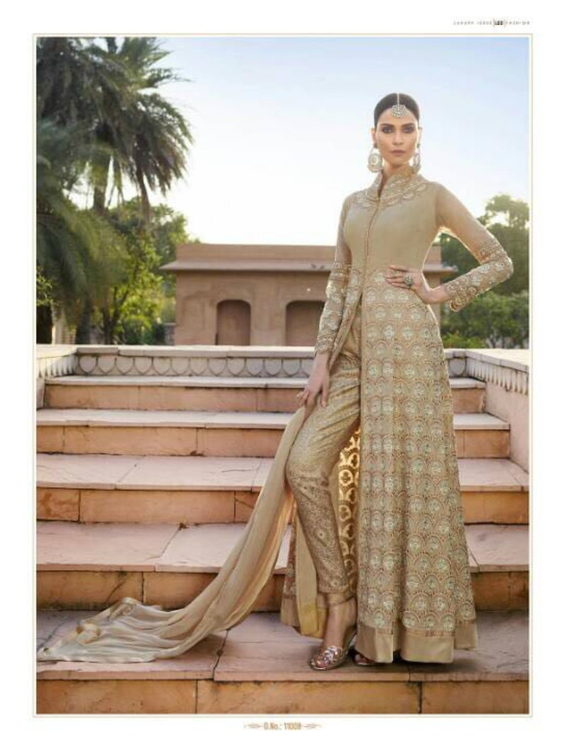 Partywear Indo Western LF11008 Beige Georgette Silk Chiffon Anarkali Pants by Fashion Nation