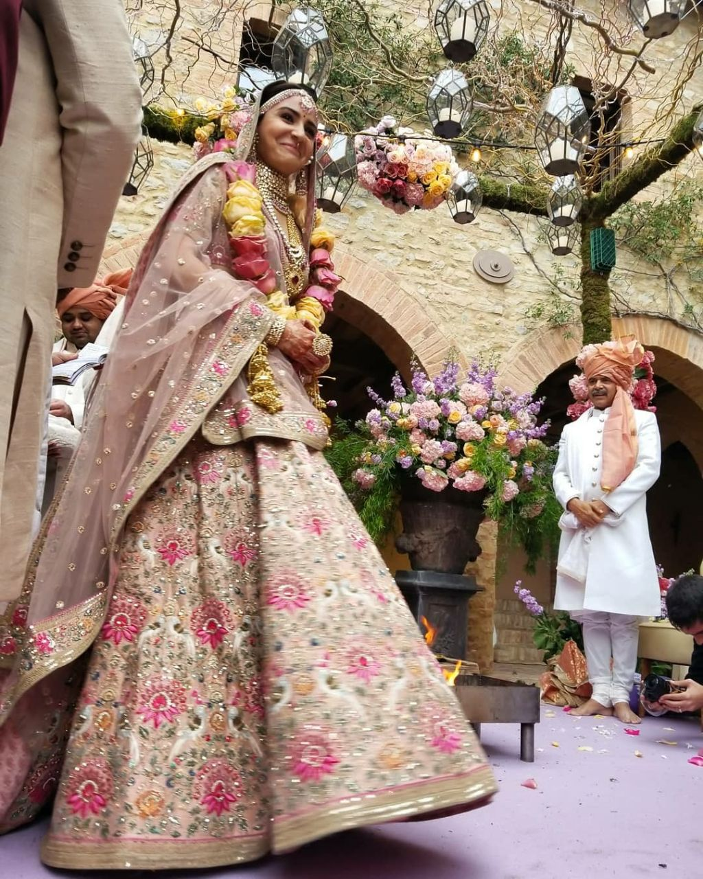 MDS821 Anushka Sharma Bollywood Inspired Peach Beige Silk Net Lehenga Choli - Fashion Nation