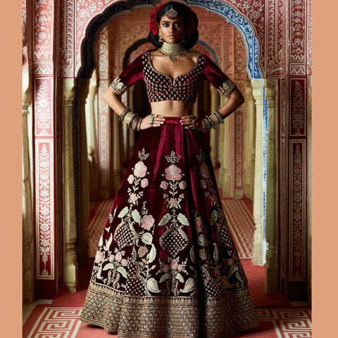 Excellent JNB3 Wedding Wear Maroon Velvet Georgette Lehenga Choli by Fashion Nation