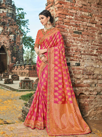 Bridal BS12105 Dressy Orange Pink Banarasi Silk Jacquard Saree - Fashion Nation