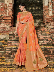 Designer BS12107 Festive Orange Banarasi Silk Jacquard Saree by Fashion Nation