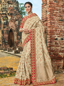 Tradiitonal BS12108 Superb Beige Red Banarasi Silk Jacquard Saree by Fashion Nation