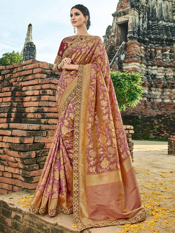 Designer BS12109 Pretty Multicoloured Maroon Banarasi Silk Jacquard Saree by Fashion Nation
