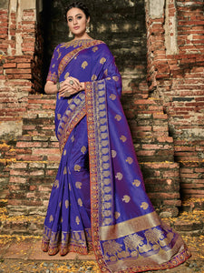 Attractive BS12110 Great Blue Banarasi Silk Jacquard Saree - Fashion Nation