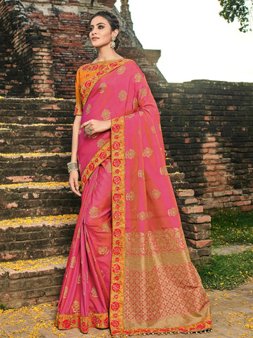 Gorgeous BS12111 Pretty Pink Orange Banarasi Silk Jacquard Saree by Fashion Nation