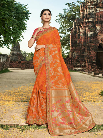 Beautiful BS12113 Designer Orange Golden Red Banarasi Silk Jacquard Saree - Fashion Nation