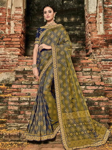 Stylish BS12114 Latest Multicoloured Violet Banarasi Silk Jacquard Saree by Fashion Nation
