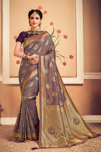 Traditional Indian Purple Banarasi Silk Jacquard Saree - Fashion Nation
