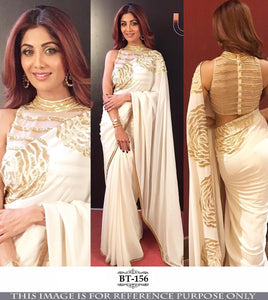 Shilpa Shetty BT156 Bollywood Inspired Georgette Beige Off-White Saree - Fashion Nation