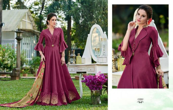 Celestial CHE25002 Indo Western Magenta Silk Floor Length Gown - Fashion Nation
