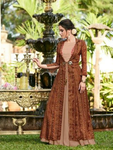 Magical CHE25003 Indo Western Multicoloured Satin Linen Floor Length Gown with Jacket - Fashion Nation