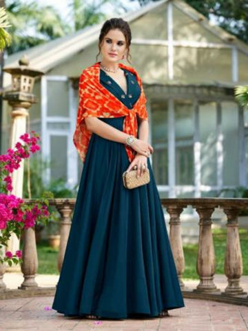 Marvellous CHE25004 Indo Western Blue Silk Floor Length Gown - Fashion Nation