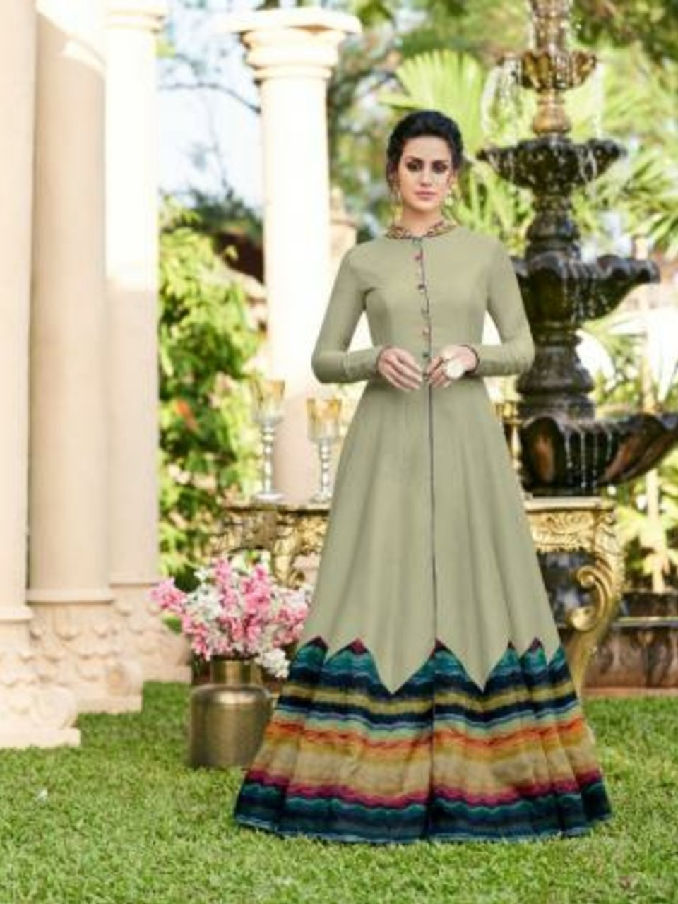 Excellent CHE25005 Indo Western Grey Multicoloured Silk Floor Length Gown - Fashion Nation