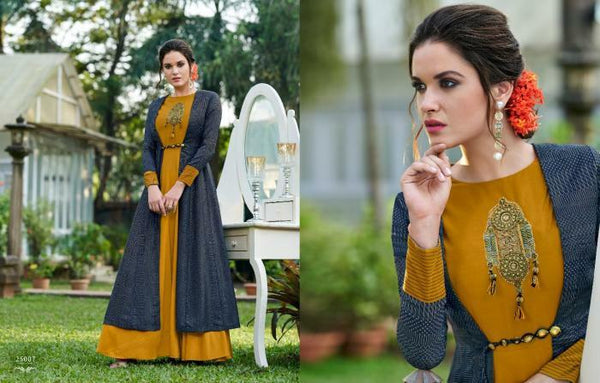 Enchanting CHE25007 Indo Western Mustard Yellow Blue Tussar Silk Floor Length Gown with Jacket - Fashion Nation.in
