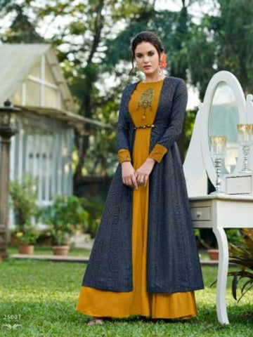 Enchanting CHE25007 Indo Western Mustard Yellow Blue Tussar Silk Floor Length Gown with Jacket - Fashion Nation